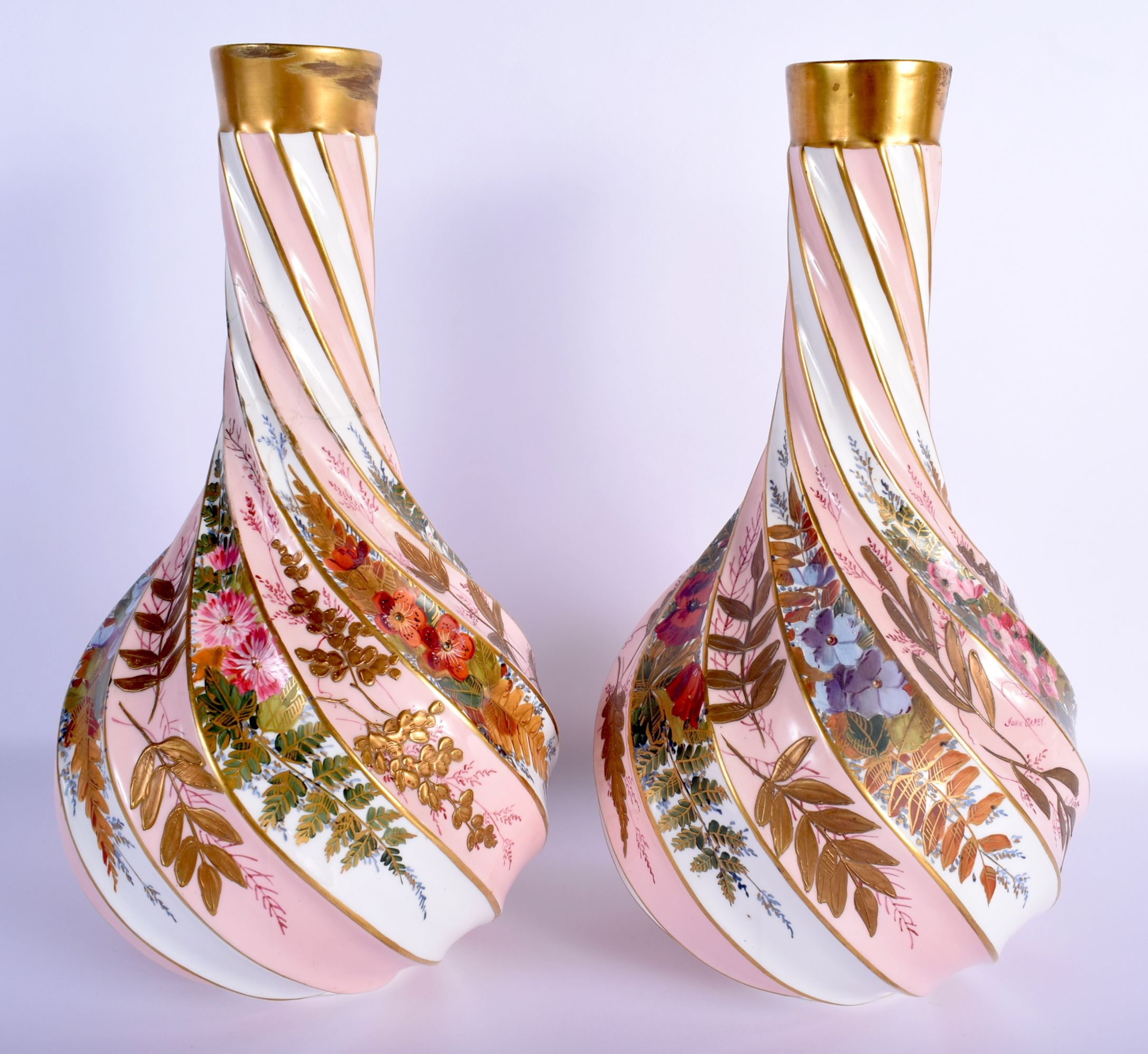 A PAIR OF 19TH CENTURY AESTHETIC MOVEMENT WRYTHEN MOULDED PORCELAIN BURSLEM VASES enamelled with flo - Image 2 of 3