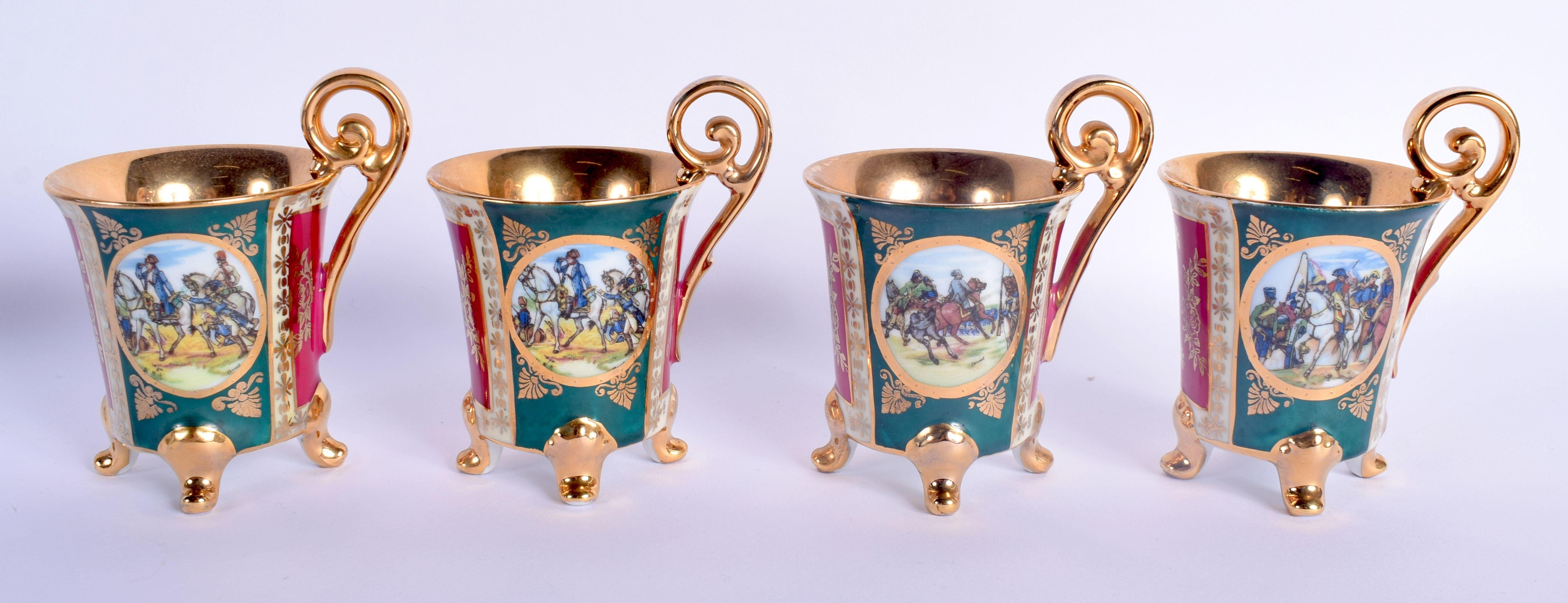 A VINTAGE J K CARLSBAD BAVARIA PORCELAIN VIENNA STYLE TEASET decorated with Napoleonic scenes. Large - Image 17 of 22