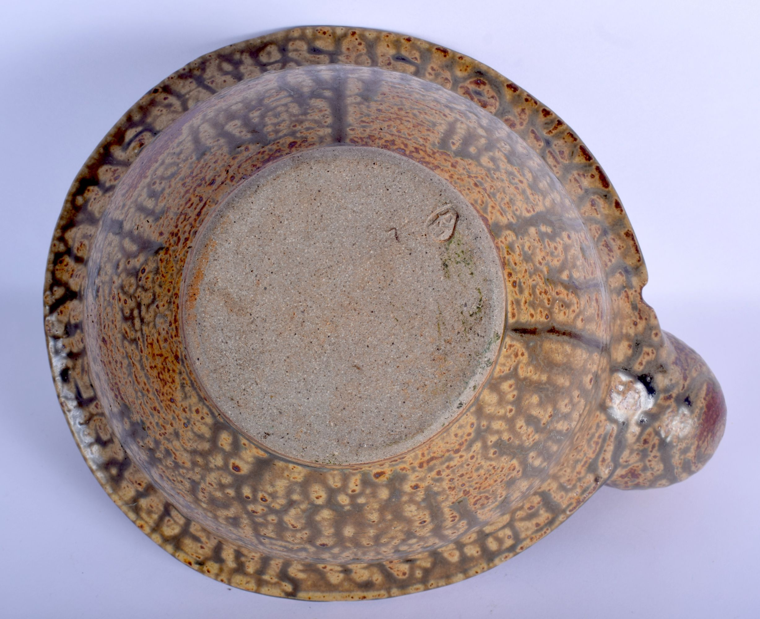 AN UNUSUAL STUDIO POTTERY STONEWARE BOWL unusually modelled with an overlaid amphora. 21 cm x 27 cm. - Image 4 of 5
