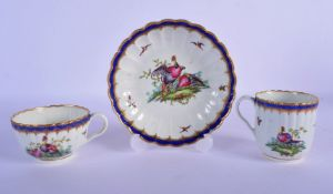 Worcester trio c.1785, comprising a coffee cup, teacup and saucer, the fluted forms painted perhaps