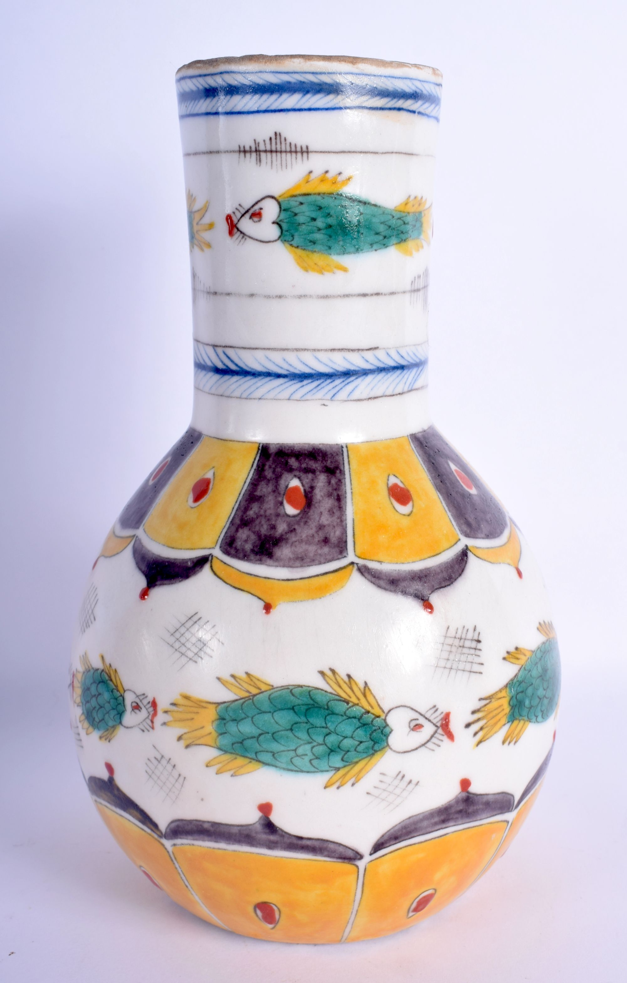 A TURKISH OTTOMAN KUTAHYA FAIENCE TYPE VASE painted with floral sprays. 22 cm high.
