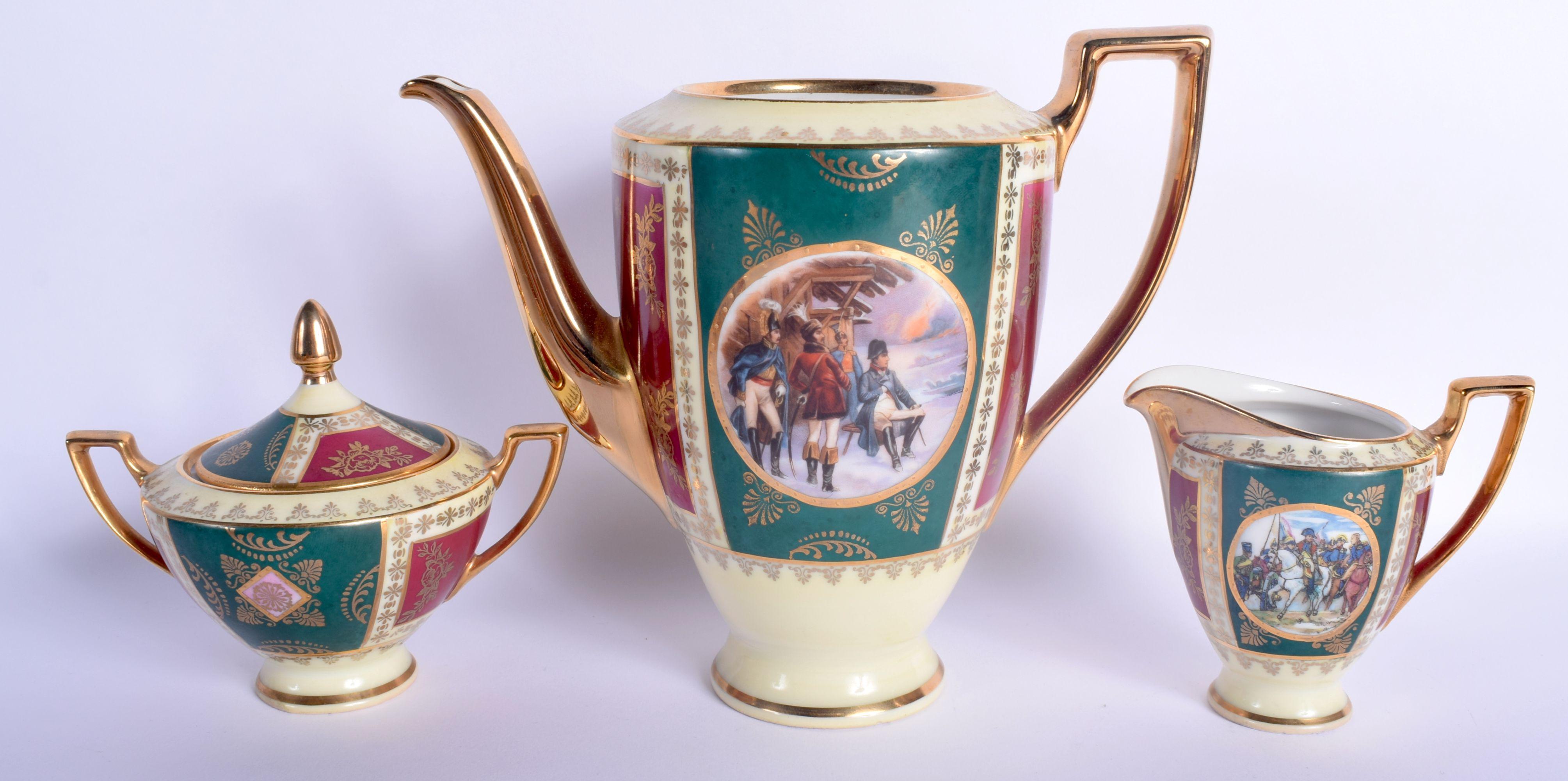 A VINTAGE J K CARLSBAD BAVARIA PORCELAIN VIENNA STYLE TEASET decorated with Napoleonic scenes. Large - Image 8 of 22