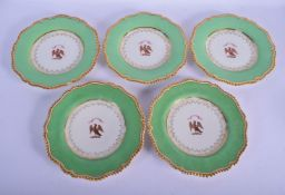 Worcester Flight Barr and Barr set of five plates painted with the Arms of Turner under a lime green
