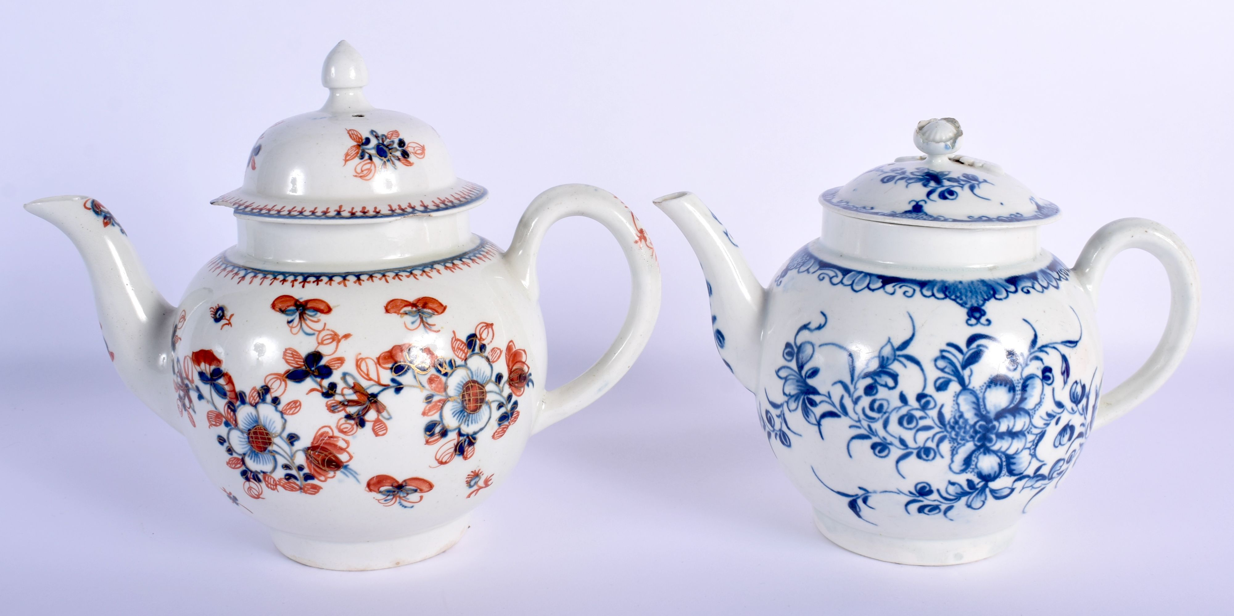 AN 18TH CENTURY WORCESTER MANSFIELD TEAPOT AND COVER together with a Liverpool overglazed teapot and