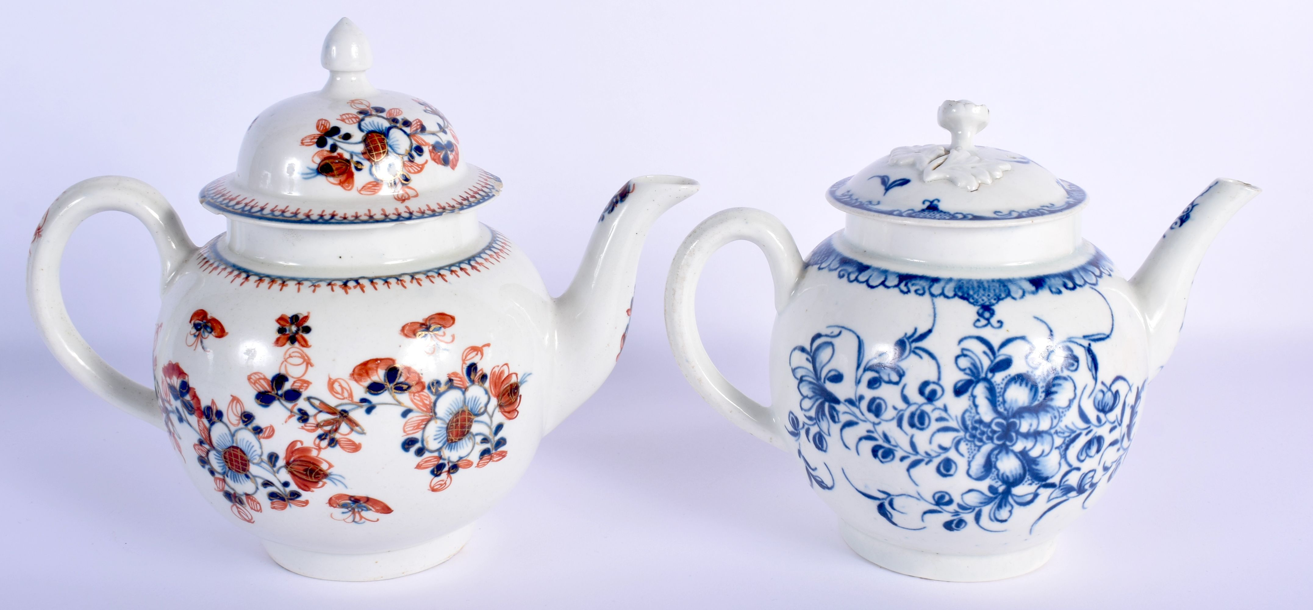 AN 18TH CENTURY WORCESTER MANSFIELD TEAPOT AND COVER together with a Liverpool overglazed teapot and - Image 2 of 4