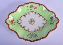Worcester fine Flight Barr and Barr gadroon bordered lime green ground dish painted with flowers imp