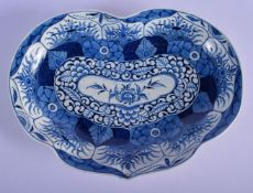 Worcester kidney-shaped dish decorated with the K'ang Hsi Lotus pattern with petal-shaped panels of