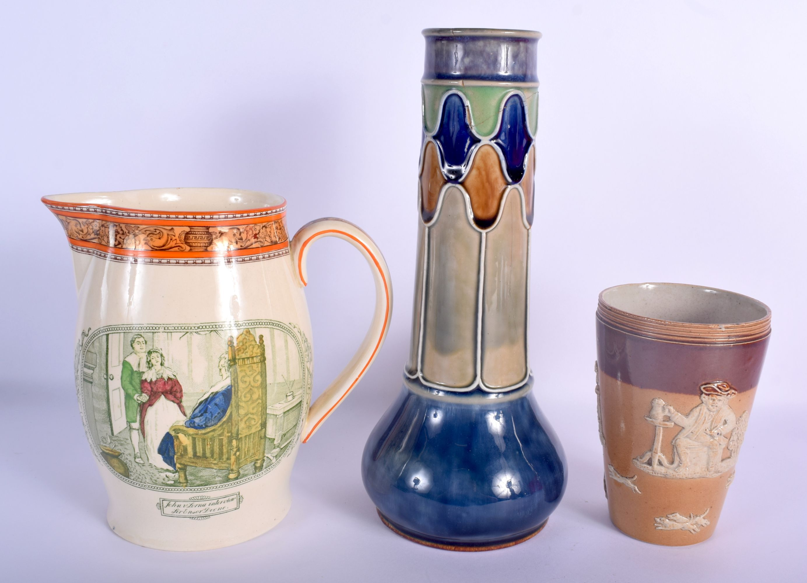 AN ANTIQUE DOULTON STONEWARE BEAKER together with another Doulton vase & a rare Adams jug. Largest 2