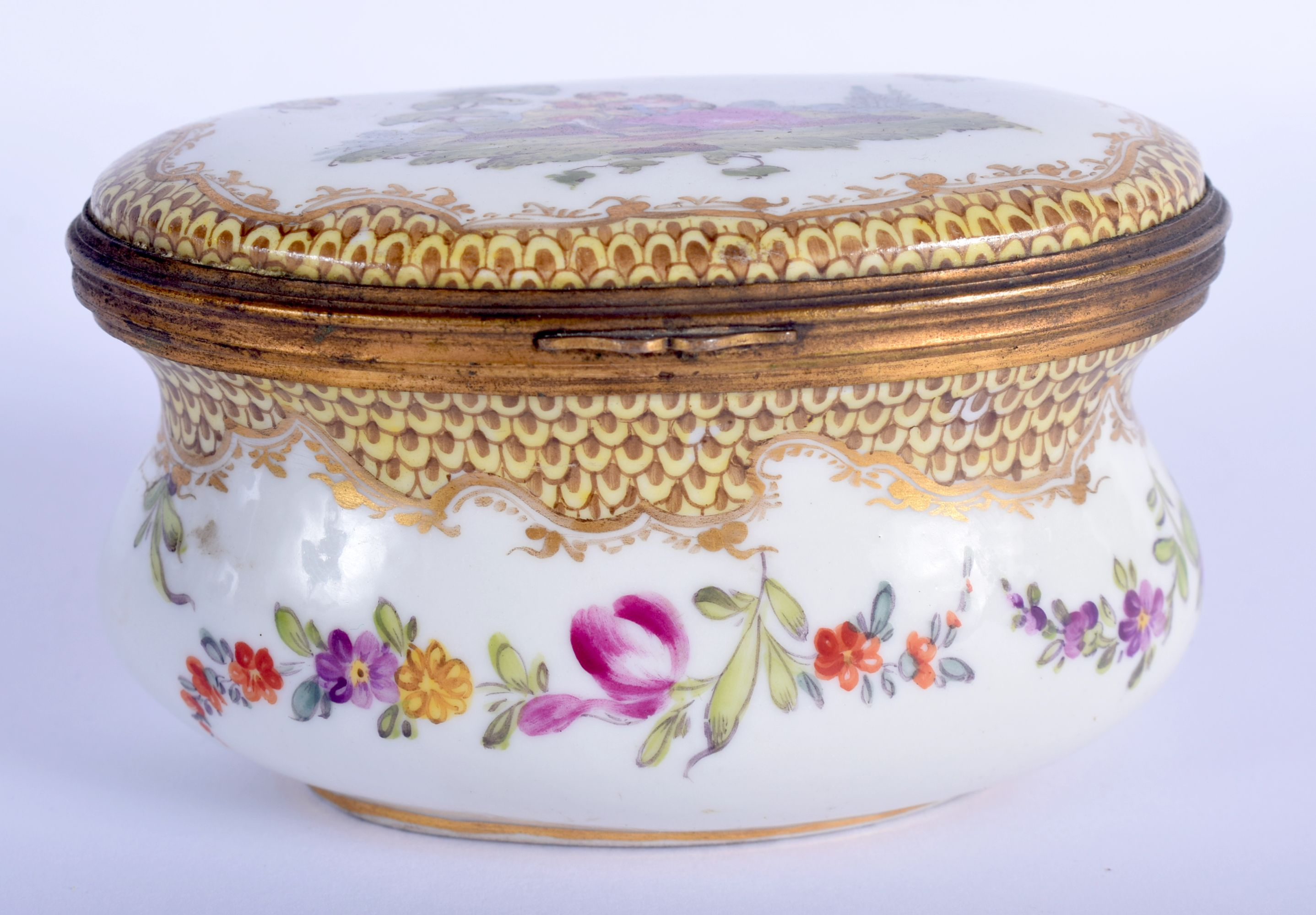 A 19TH CENTURY GERMAN HOSCHT PORCELAIN ENAMELLED BOX painted with figures within landscapes. 10 cm x