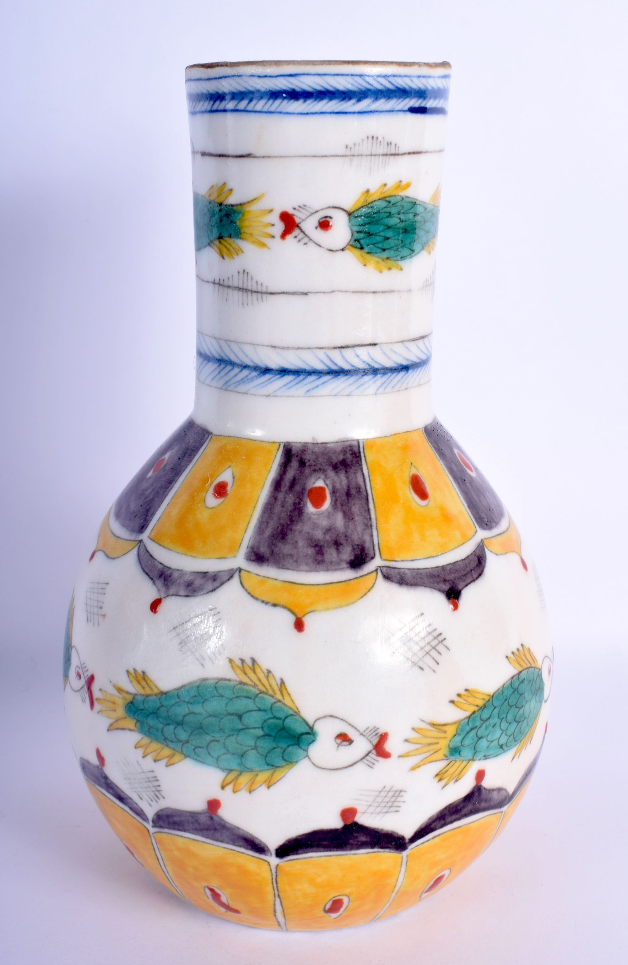 A TURKISH OTTOMAN KUTAHYA FAIENCE TYPE VASE painted with floral sprays. 22 cm high. - Image 2 of 3