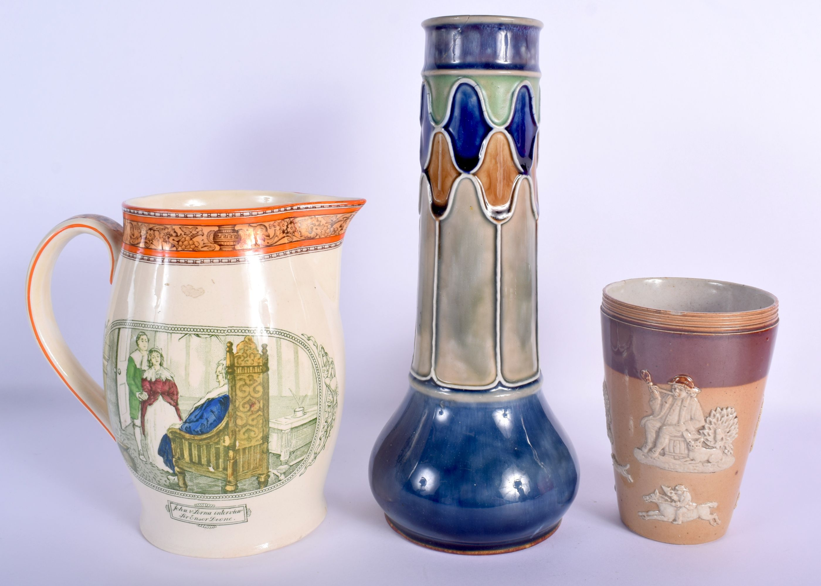 AN ANTIQUE DOULTON STONEWARE BEAKER together with another Doulton vase & a rare Adams jug. Largest 2 - Image 2 of 3
