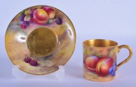 Royal Worcester coffee can and saucer painted with fruit by Moseley and Hale, date code 1928. Cup 5