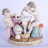 A 19TH CENTURY MEISSEN PORCELAIN FIGURE OF TWO PUTTI modelled beside an empire style table. 13 cm x
