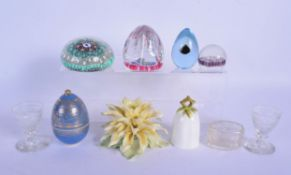 A RARE PAIR OF REGENCY CUT GLASS EGG CUPS together with paperweights etc. (10)