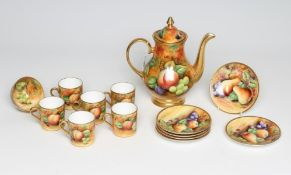 A COALPORT CHINA COFFEE SERVICE, modern, painted in polychrome enamels by Joseph Mottram with