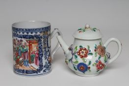 A CHINESE EXPORT PORCELAIN MUG of plain cylindrical form, the strap handle with heart terminal and