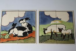 """TWO CARTER'S POOLE POTTERY """"FARMYARD SERIES"""" TILE PANELS - """"EWE AND LAMB"""", numbered 3C, and """""""