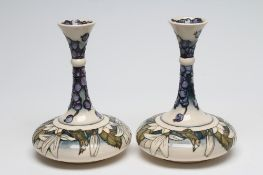 """A PAIR OF MOORCROFT JUNEBERRY """"YACHT"""" VASES, 2001, designed by Anji Davenport, both signed and"""