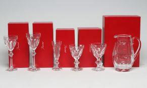 """A COLLECTION OF BACCARAT GLASS HARCOURT PATTERN TABLEWARE, modern, comprising water jug (8 3/4"""""""