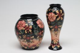 TWO MOORCROFT OBERON VASES, 1997 and 1999, designed by Rachel Bishop, one of inverted baluster form,