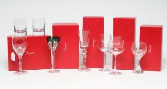 A COLLECTION OF BACCARAT GLASS, modern, comprising a pair of Chateau white wines, a Massena water