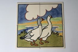 """A CARTER'S POOLE POTTERY """"FARMYARD SERIES"""" TILE PANEL -""""GEESE"""" - stencilled with two geese, each"""