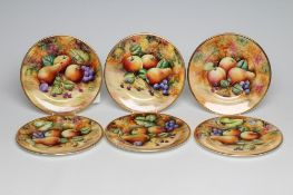 A SET OF SIX COALPORT CHINA DINNER PLATES, modern, painted in polychrome enamels by Joseph Mottram