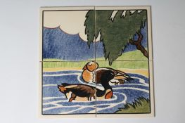 """A CARTER'S POOLE POTTERY """"FARMYARD SERIES"""" TILE PANEL - """"DUCKS"""" - stencilled with two ducks"""