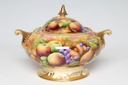 A LARGE COALPORT CHINA SOUP TUREEN AND COVER, modern, of bombe cylindrical form with swept finial