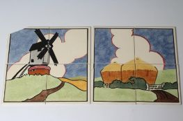 """TWO CARTER'S POOLE POTTERY """"FARMYARD SERIES"""" TILE PANELS - """"WINDMILL"""" AND """"HAYSTACK"""", windmill"""