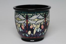 A MOORCROFT FAVRILE CACHE-POT, 2001, designed by Nicola Slaney, of plain rounded cylindrical form,