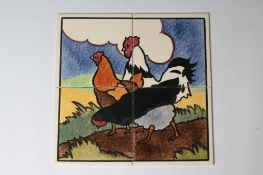 """A CARTER'S POOLE POTTERY """"FARMYARD SERIES"""" TILE PANEL - """"COCKEREL AND HENS"""" - stencilled with a"""