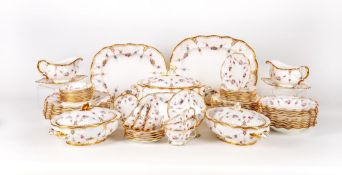 AN EXTENSIVE ROYAL CROWN DERBY ROYAL ANTOINETTE PATTERN CHINA DINNER SERVICE, comprising soup tureen
