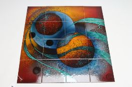 A TILE PANEL designed and painted by Alan Clarke and Janice Tchalenko in ochre, red, green and