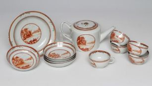 A CHINESE EXPORT PORCELAIN PART TEA SERVICE, each piece painted in monochrome burnt orange with a
