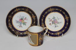 A FRENCH PORCELAIN CAN AND SAUCER, mid to late 19th century, the can painted with a head and