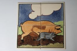 """A CARTER'S POOLE POTTERY """"FARMYARD SERIES"""" TILE PANEL - """"SOW AND PIGLET"""", numbered 6/1, 12"""" x 12"""" ("""