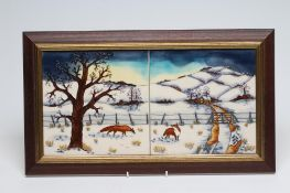 """A MOORCROFT WOODSIDE FARM """"TILE"""" PLAQUE, 2000, designed by Anji Davenport, inscribed in brown, 8"""""""