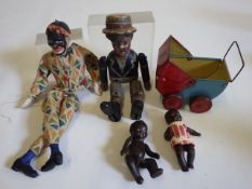 A Victorian wooden sailor boy doll, possibly from an automaton, with hinged limbs and integral