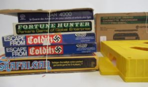 Mixed board games comprising two Escape from Colditz, Trafalgar, Fortune Hunter, L'Han 4000 and