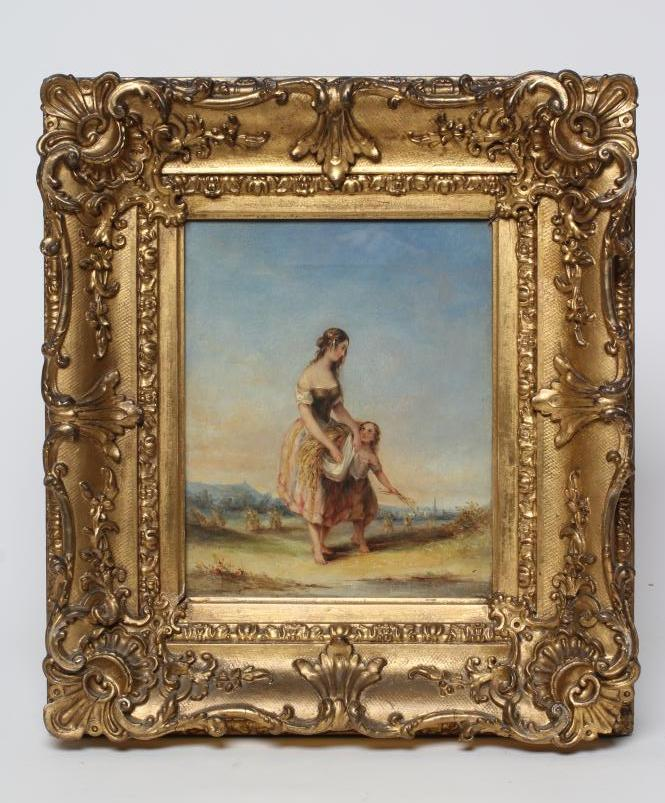 """BRITISH SCHOOL (19th Century), Young Female Harvester & Child, oil on canvas, unsigned, 10 1/4"""" x"""