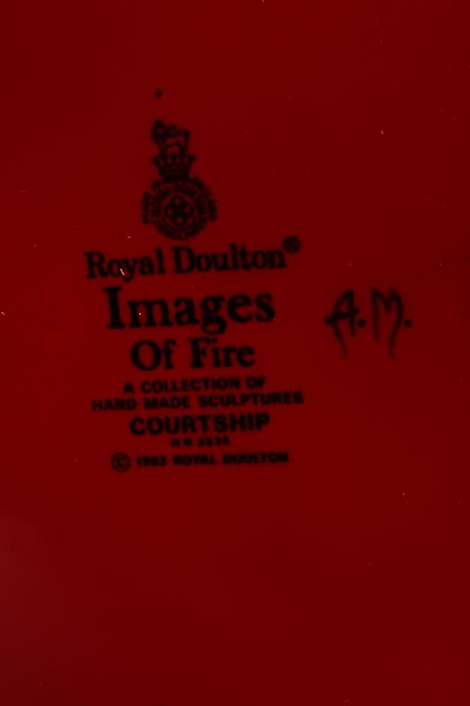 """A ROYAL DOULTON SCULPTURE, modern, """"Images of Fire-Courtship"""" in a flambe glaze, HN3535, printed - Image 6 of 6"""