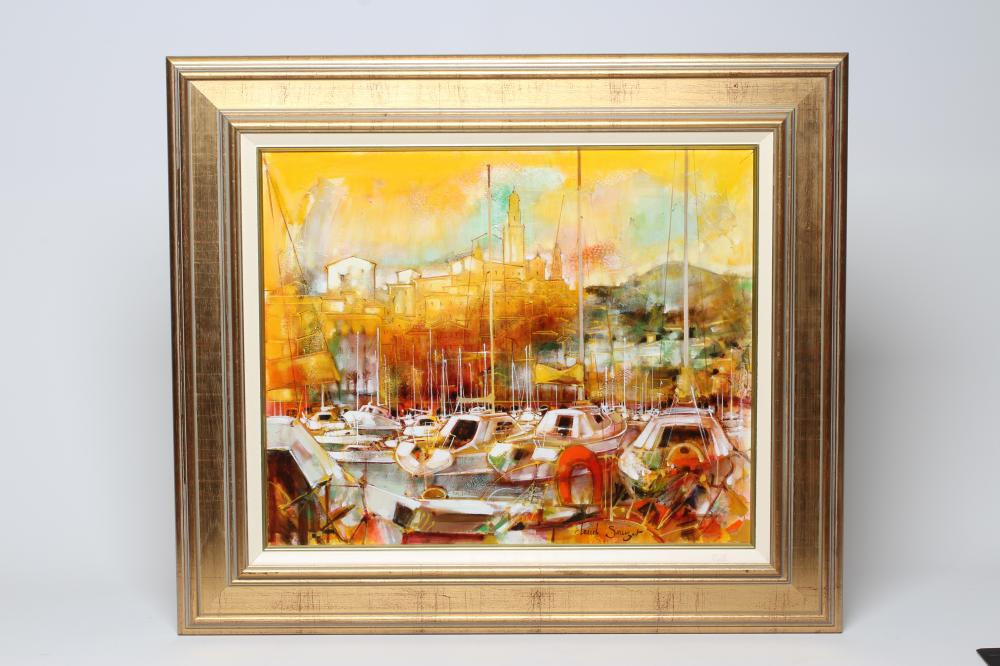 """CLAUDE SAUZET (b.1941), Harbour Scene with Moored Yachts, oil on canvas, signed, 20"""" x 24"""" gilt"""