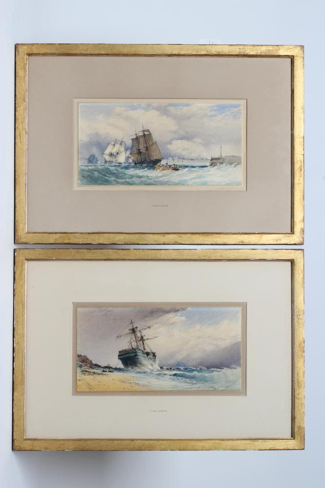 JOHN CALLOW (1822-1878), Shipping in Squally Seas and Beached Sailing Vessel, a pair, watercolour
