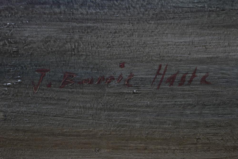 """JOHN BARRIE HASTE (1931-2011), Moonlit River Scene, oil on board, signed, 18"""" x 24 1/2"""", swept - Image 3 of 3"""