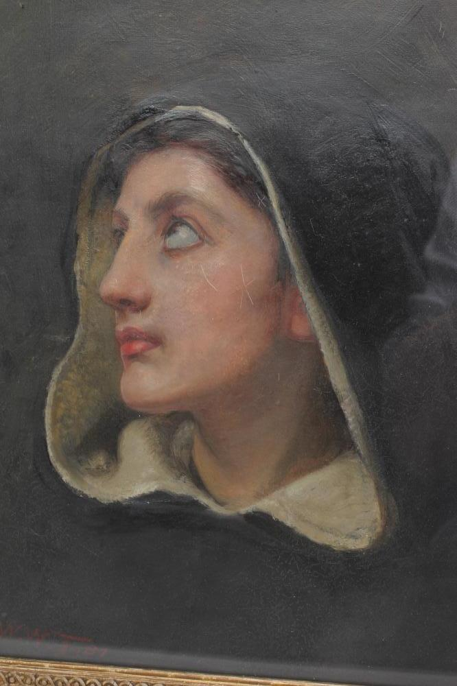 FRANK WILLIAM WARWICK TOPHAM (1838-1924), Bust Portrait of a Lady Praying, oil on canvas, signed - Image 2 of 3