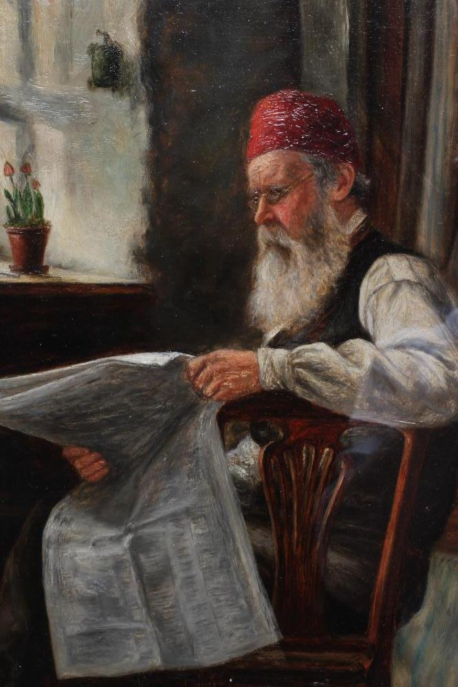 ALEXANDER DAVIDSON (1838-1887), Coastal Cottage Interior with Man Reading Newspaper, oil on - Image 2 of 5