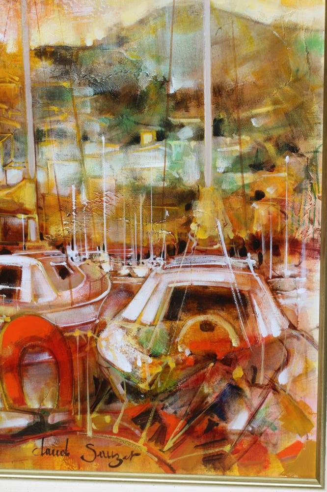 """CLAUDE SAUZET (b.1941), Harbour Scene with Moored Yachts, oil on canvas, signed, 20"""" x 24"""" gilt - Image 3 of 4"""