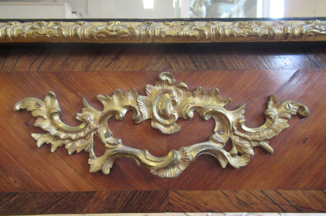 A LOUIS XV STYLE KINGWOOD AND TULIPWOOD BUREAU PLAT, 19th century, of serpentine form with gilt - Image 4 of 9