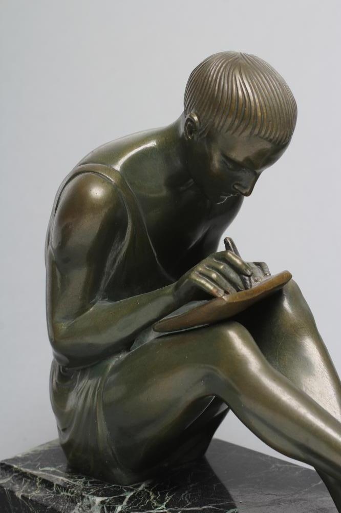BY AND AFTER PIERRE LE FAGUAYS (1892-1962), a pair of Art Deco bronze figural bookends cast as a - Image 4 of 8